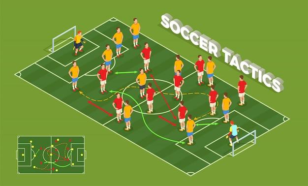 Isometrische leutezusammensetzung des fußballfußballs mit begriffsbild von spielplatz- und fußballspielern mit bunter pfeilillustration