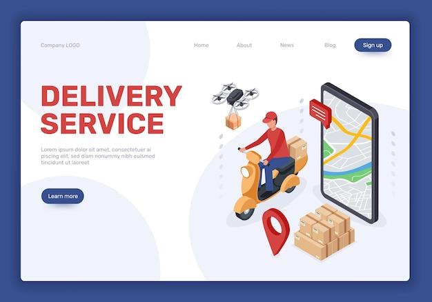 Isometrische lieferservice-landingpage online-shopping-drohne liefert pakete kurier auf roller