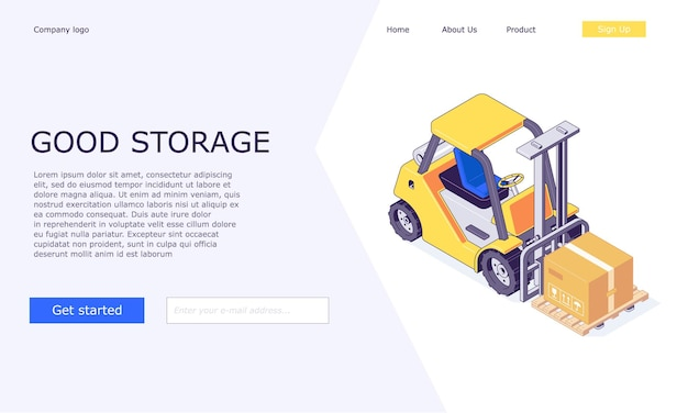 Isometrische logistische lagerboxen auf gabelstaplervorlagenentwurf