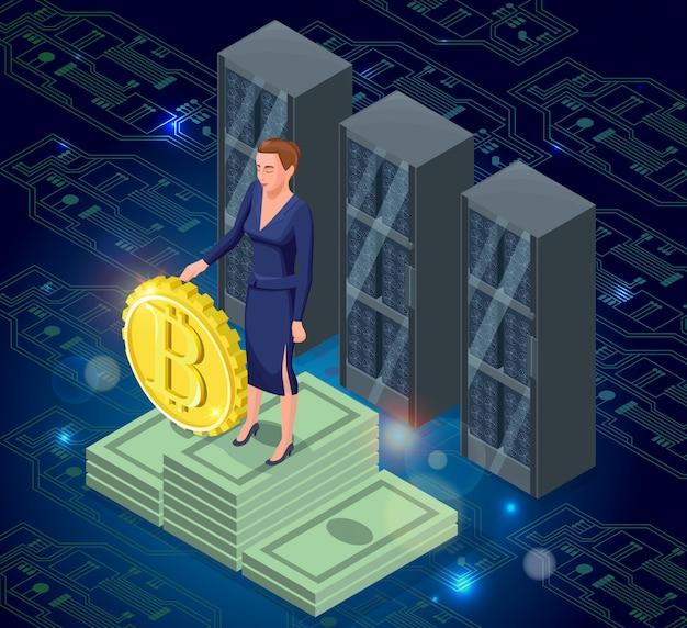Isometrische lokalisierte ikone des bitcoin, goldene münze der kryptowährung