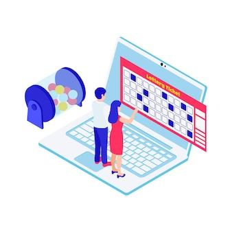 Isometrische lotterie-bingo-spielillustration mit ticket-laptop-charakteren 3d