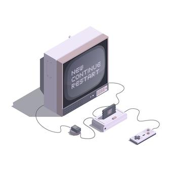 Isometrische low poly retro konsole mit fernseher