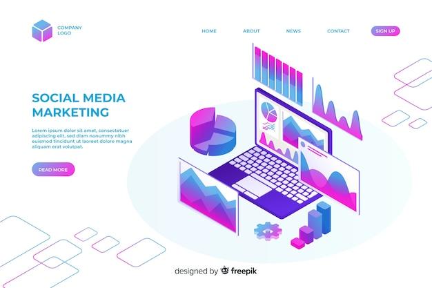 Isometrische marketing-landingpage-vorlage