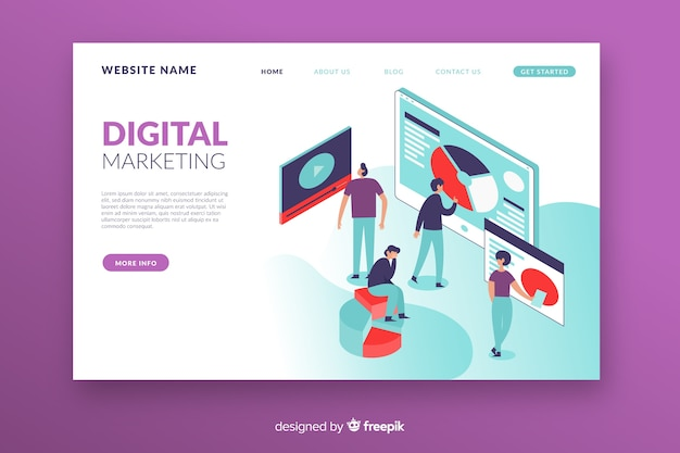 Isometrische marketing-zielseite