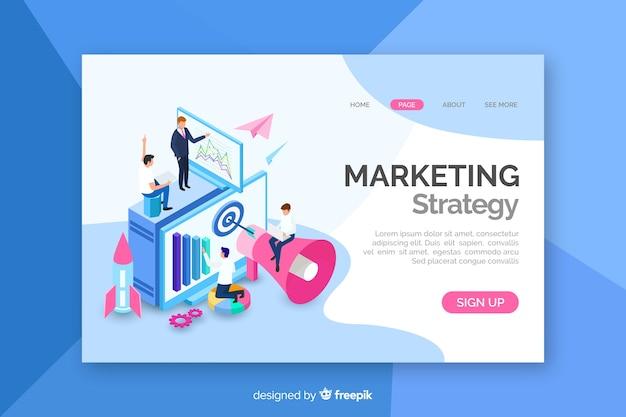 Isometrische marketing-zielseite Premium Vektoren