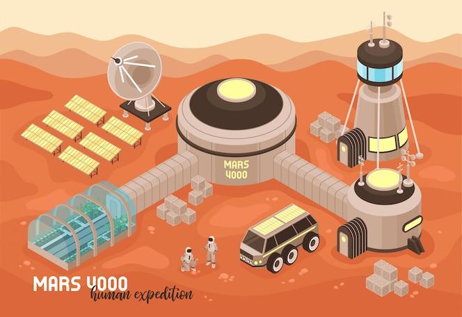 Isometrische mars-kolonisationslandschaftskomposition mit text und marsgelände mit außerirdischen basisgebäuden und menschen