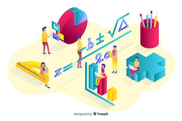Isometrische mathe elemente hintergrund