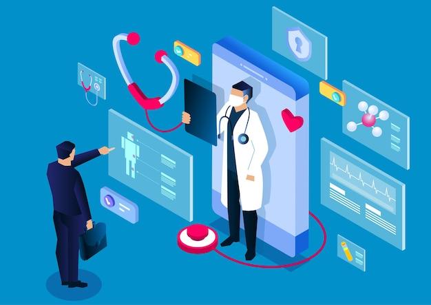 Isometrische medizinische smartphone-online-anwendung für medizinische beratung und diagnose
