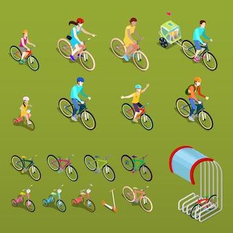 Isometrische menschen auf fahrrädern. stadtfahrrad, familienfahrrad und kinderfahrrad.