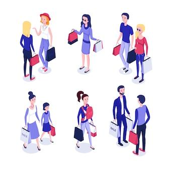 Isometrische menschen beim einkaufen