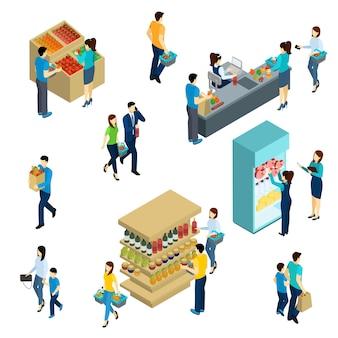 Isometrische menschen einkaufen