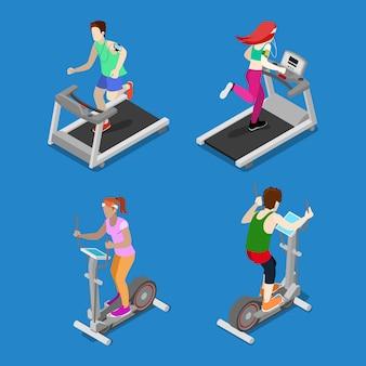 Isometrische menschen. mann und frau, die auf tretmühle in der turnhalle laufen. aktive menschen.