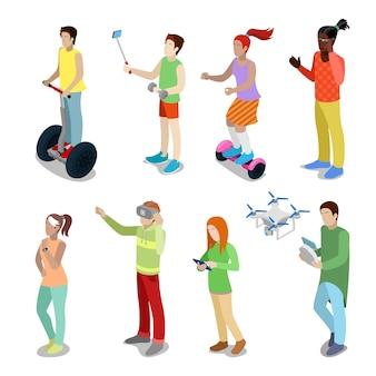 Isometrische menschen mit modernen geräten segway-, drohnen-, gyroscooter- und virtual-reality-brillen. flache illustration des vektors 3d