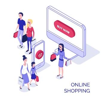 Isometrische menschen online-shopping