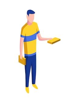 Isometrische menschen-symbol. mann mit büchern in den händen.