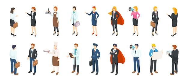 Isometrische menschenberufe. männer und frauen in verschiedenen professionellen anzügen und uniformen, flache bürocharaktere. 3d business jobs person beruf service