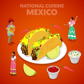 Isometrische mexikanische nationale küche mit tacos, pfeffer und mexikanern in traditioneller kleidung. flache illustration des vektors 3d