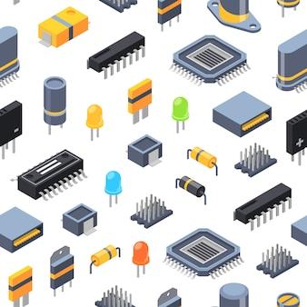 Isometrische mikrochips und ikonenmuster oder -hintergrund der elektronischen teile