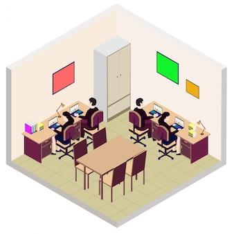 Isometrische mitarbeiter büroraum symbol