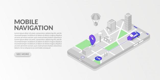 Isometrische mobile gps-navigation und verfolgung mit stadtplan und marker