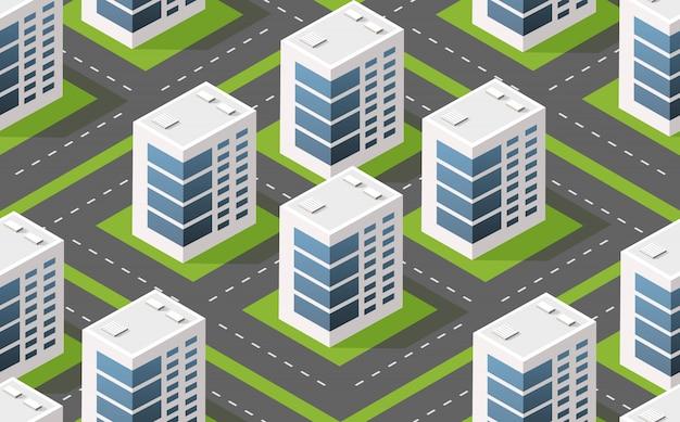 Isometrische modulstadt aus städtischer gebäudearchitektur.