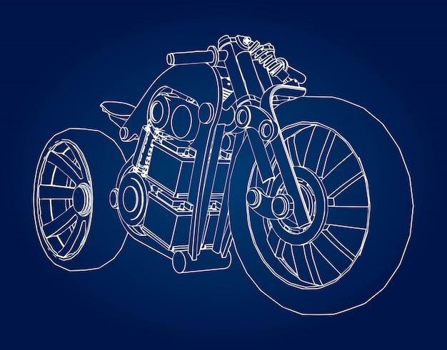 Isometrische motorradmodell blaupause