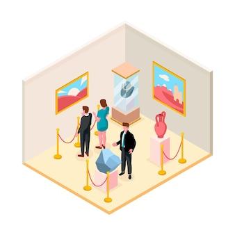 Isometrische museumsillustration mit ausstellung