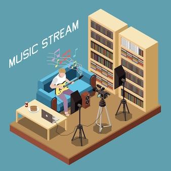 Isometrische musikstromkomposition mit mann, der gitarre online spielt