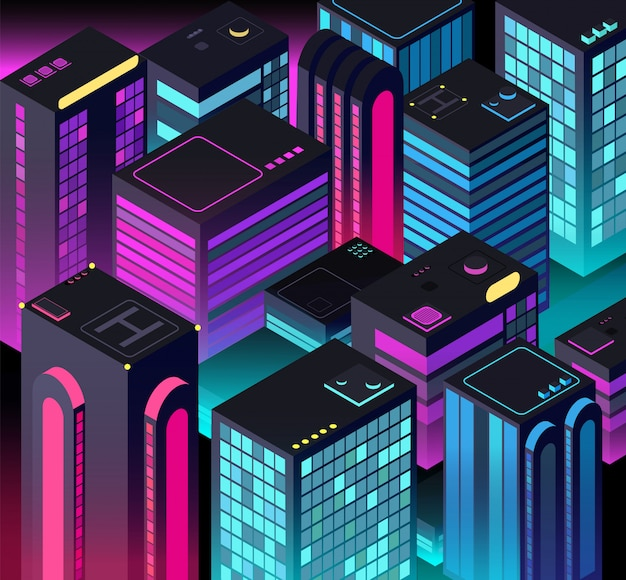 Isometrische nachtstadt. zukünftige stadtlandschaft.