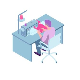 Isometrische nähwerkstattzusammensetzung mit arbeiter, die im stuhl am tisch mit nähmaschinenillustration sitzt