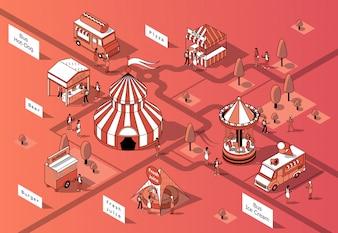 Isometrische Nahrungsmittelgerichte 3d, Festival - Marktplatz