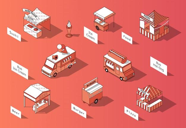 Isometrische nahrungsmittelgerichte 3d, lkws - marktplatz