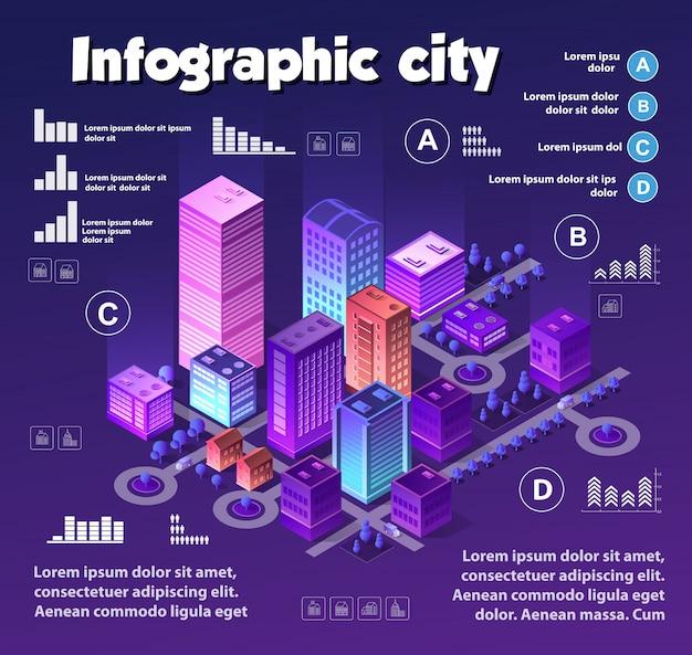 Isometrische neonstadt-infografiken von violetten farben