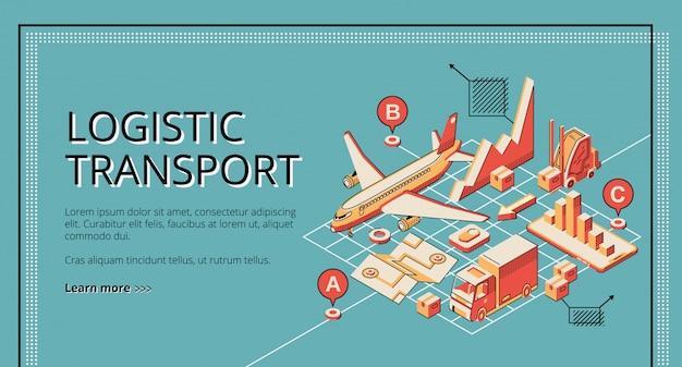 Isometrische netzfahne des logistischen transportes des geschäfts, landungseite.
