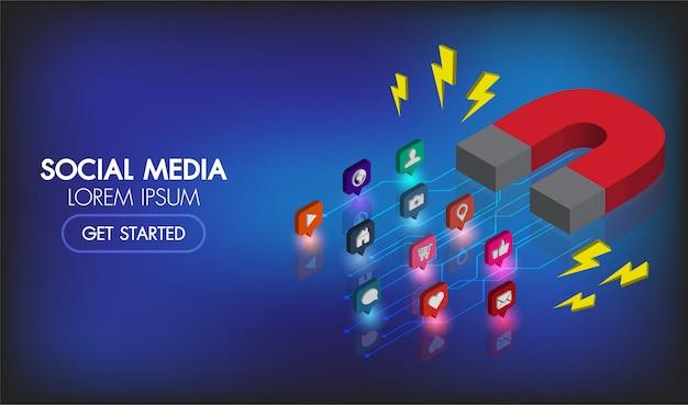 Isometrische netzfahne des social media-marketings. magnetmarketing-werbungsinfo.