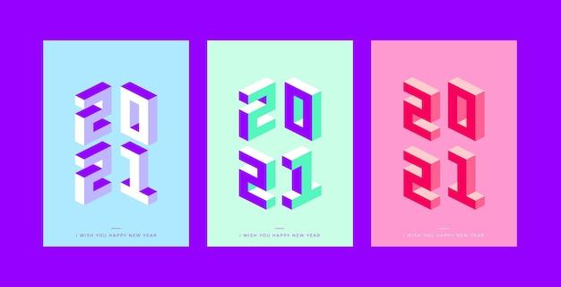 Isometrische neujahrs-2021-party-flyer-vorlage