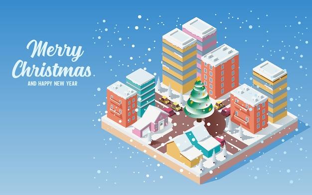 Isometrische niedliche weihnachtsstadt