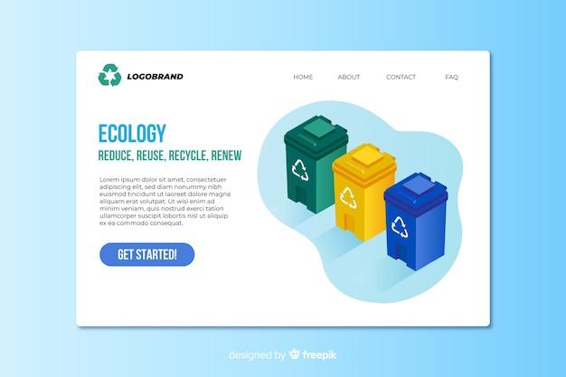 Isometrische ökologie-landingpage-vorlage