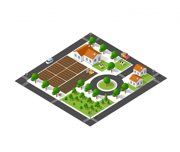 Isometrische ökologische vorstadt