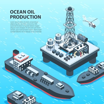 Isometrische öl-erdölindustrie mit außenansicht der offshore-benzinproduktion