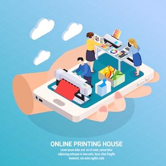 Isometrische on-line-zusammensetzung der werbeagentur mit druckhaus auf smartphoneschirm in der menschlichen handplakatillustration