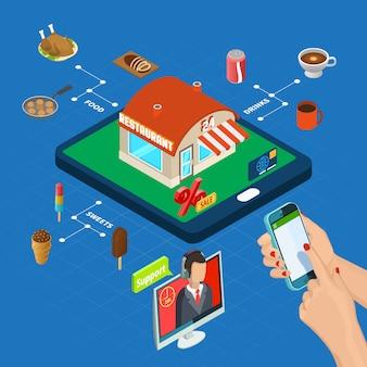 Isometrische online-bestellung in einem restaurant