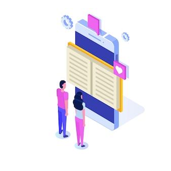 Isometrische online-bibliothek, online-buchhandlung, e-learning, ebook. illustration.