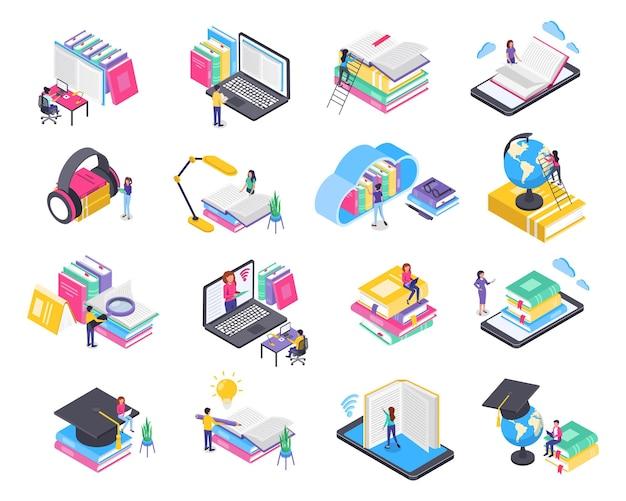 Isometrische online-bildung menschen, die über laptop-telefon lernen, trainieren digitale bibliotheksvektorkonzepte