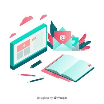 Isometrische online-bildungskonzept