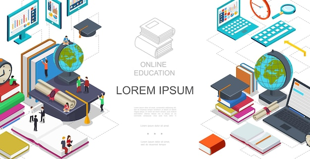 Isometrische online-bildungsschablone mit studenten, die auf büchern globus laptop tablet lupe zertifikat abschlusskappe illustration sitzen und stehen