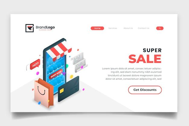 Isometrische online-landingpage-vorlage für einkäufe