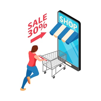 Isometrische online-shop-verkaufsillustration mit smartphone und charakter, die mit trolley laufen
