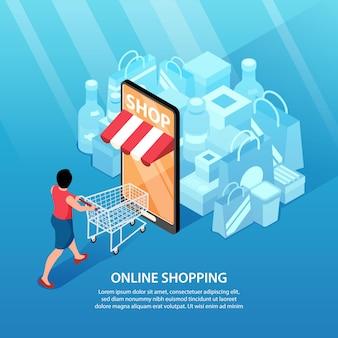 Isometrische online-shopping-illustration quadratische komposition mit smartphone als tür