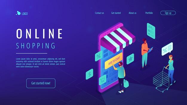 Isometrische online-shopping-landingpage.
